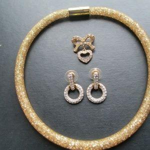 lot of 3 Swarovski Choker Necklace  brooch earring